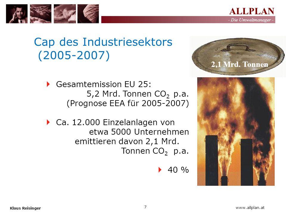 ALLPLAN - Die Umweltmanager - Klaus Reisinger 7 www.allplan.at Cap des Industriesektors (2005-2007) Gesamtemission EU 25: 5,2 Mrd. Tonnen CO 2 p.a. (P