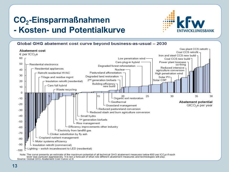 13 CO 2 -Einsparmaßnahmen - Kosten- und Potentialkurve