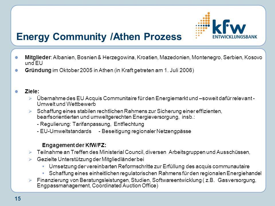 15 Energy Community /Athen Prozess Mitglieder: Albanien, Bosnien & Herzegowina, Kroatien, Mazedonien, Montenegro, Serbien, Kosovo und EU Gründung im O