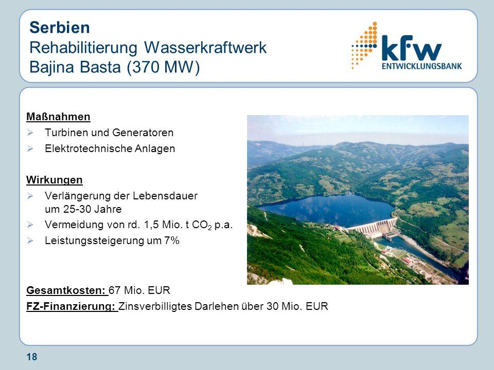 18 Serbien Rehabilitierung Wasserkraftwerk Bajina Basta (370 MW) Maßnahmen Turbinen und Generatoren Elektrotechnische Anlagen Wirkungen Verlängerung d