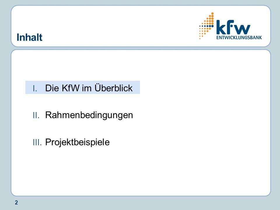 3 Die KfW Bankengruppe in Kürze Förderbank der Bundesrepublik Deutschland Gründung 1948 Anteilseigner: 80 % Bund, 20 % Länder Auslandsbüros: rund 60 Büros und Repräsentanzen Bilanzsumme Ende 2008: 395 Mrd.