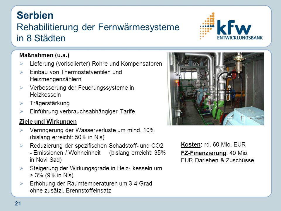 21 Serbien Rehabilitierung der Fernwärmesysteme in 8 Städten Maßnahmen (u.a.) Lieferung (vorisolierter) Rohre und Kompensatoren Einbau von Thermostatv