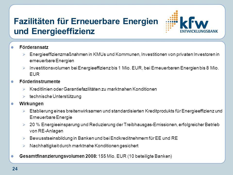 24 Fazilitäten für Erneuerbare Energien und Energieeffizienz Förderansatz Energieeffizienzmaßnahmen in KMUs und Kommunen, Investitionen von privaten I