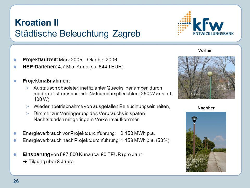 26 Kroatien II Städtische Beleuchtung Zagreb Projektlaufzeit: März 2005 – Oktober 2006. HEP-Darlehen: 4,7 Mio. Kuna (ca. 644 TEUR). Projektmaßnahmen: