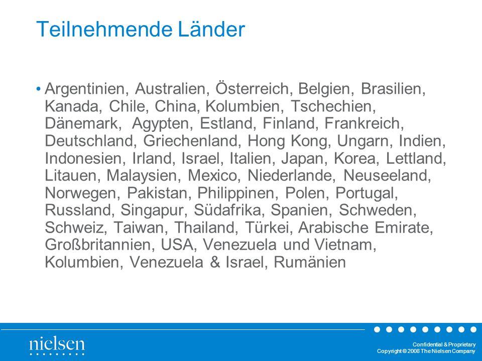 Confidential & Proprietary Copyright © 2008 The Nielsen Company Teilnehmende Länder Argentinien, Australien, Österreich, Belgien, Brasilien, Kanada, C