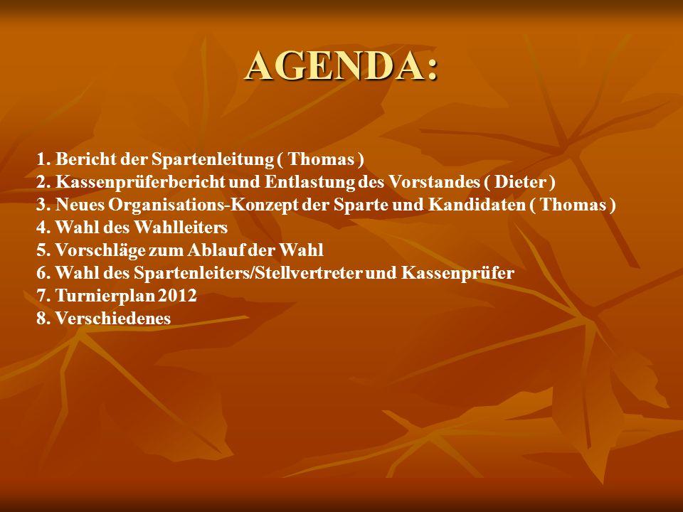 AGENDA: 1. Bericht der Spartenleitung ( Thomas ) 2. Kassenprüferbericht und Entlastung des Vorstandes ( Dieter ) 3. Neues Organisations-Konzept der Sp