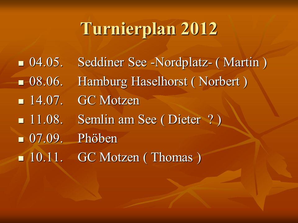 Turnierplan 2012 04.05.Seddiner See -Nordplatz- ( Martin ) 04.05.Seddiner See -Nordplatz- ( Martin ) 08.06.Hamburg Haselhorst ( Norbert ) 08.06.Hambur