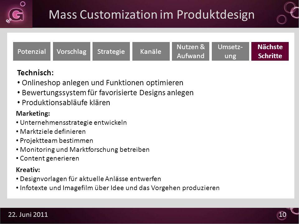 22. Juni 2011 10 Technisch: Onlineshop anlegen und Funktionen optimieren Bewertungssystem für favorisierte Designs anlegen Produktionsabläufe klären P
