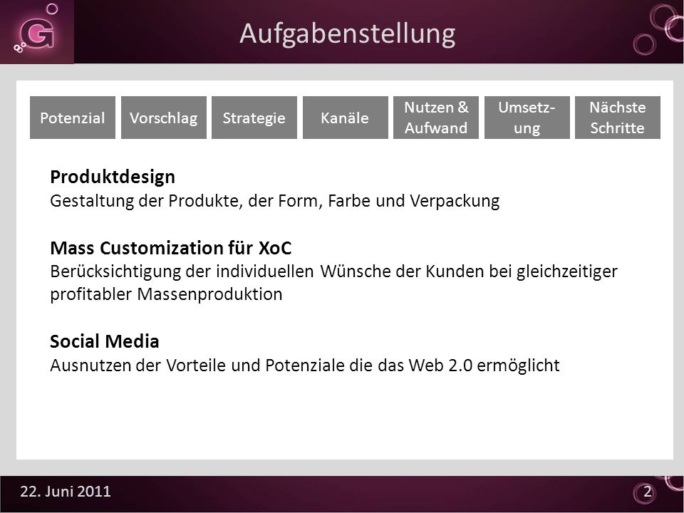 22. Juni 2011 2 Aufgabenstellung Produktdesign Gestaltung der Produkte, der Form, Farbe und Verpackung Mass Customization für XoC Berücksichtigung der