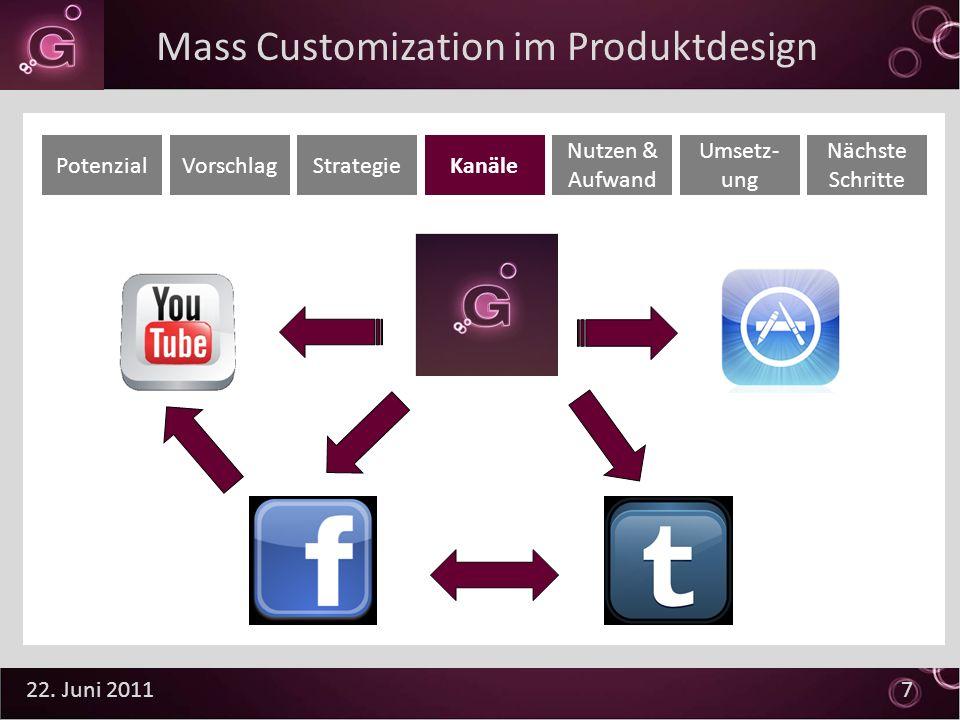 22. Juni 2011 7 PotenzialVorschlagStrategieKanäle Nutzen & Aufwand Umsetz- ung Nächste Schritte Mass Customization im Produktdesign