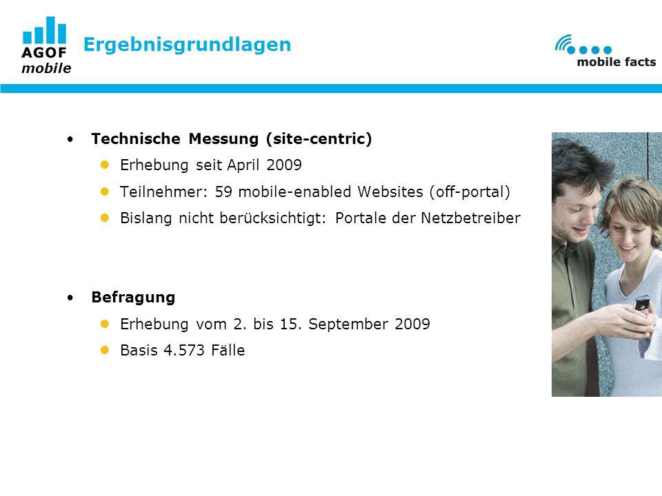 mobile Ergebnisgrundlagen Technische Messung (site-centric) Erhebung seit April 2009 Teilnehmer: 59 mobile-enabled Websites (off-portal) Bislang nicht