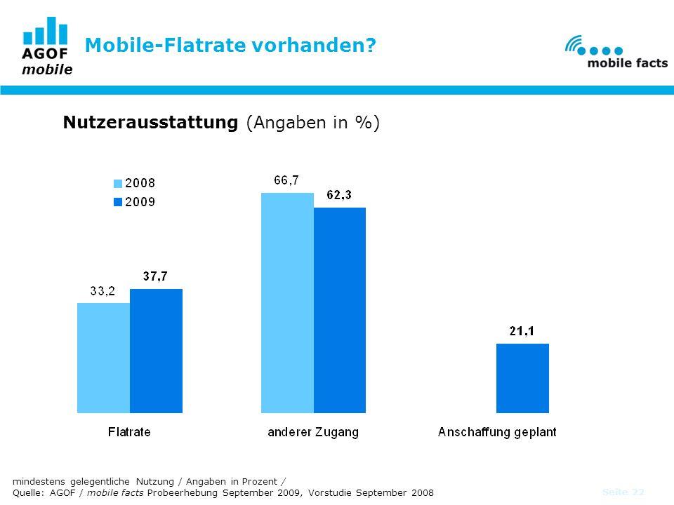 mobile Seite 22 Mobile-Flatrate vorhanden? Nutzerausstattung (Angaben in %) mindestens gelegentliche Nutzung / Angaben in Prozent / Quelle: AGOF / mob