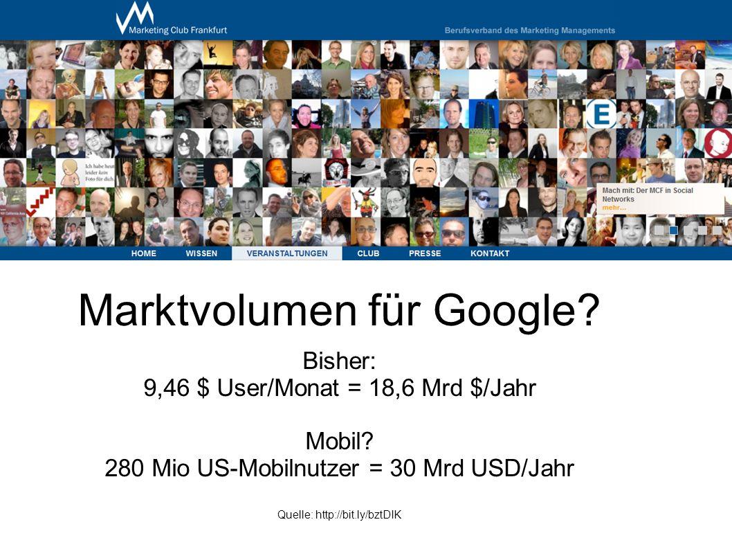 Marktvolumen für Google. Bisher: 9,46 $ User/Monat = 18,6 Mrd $/Jahr Mobil.