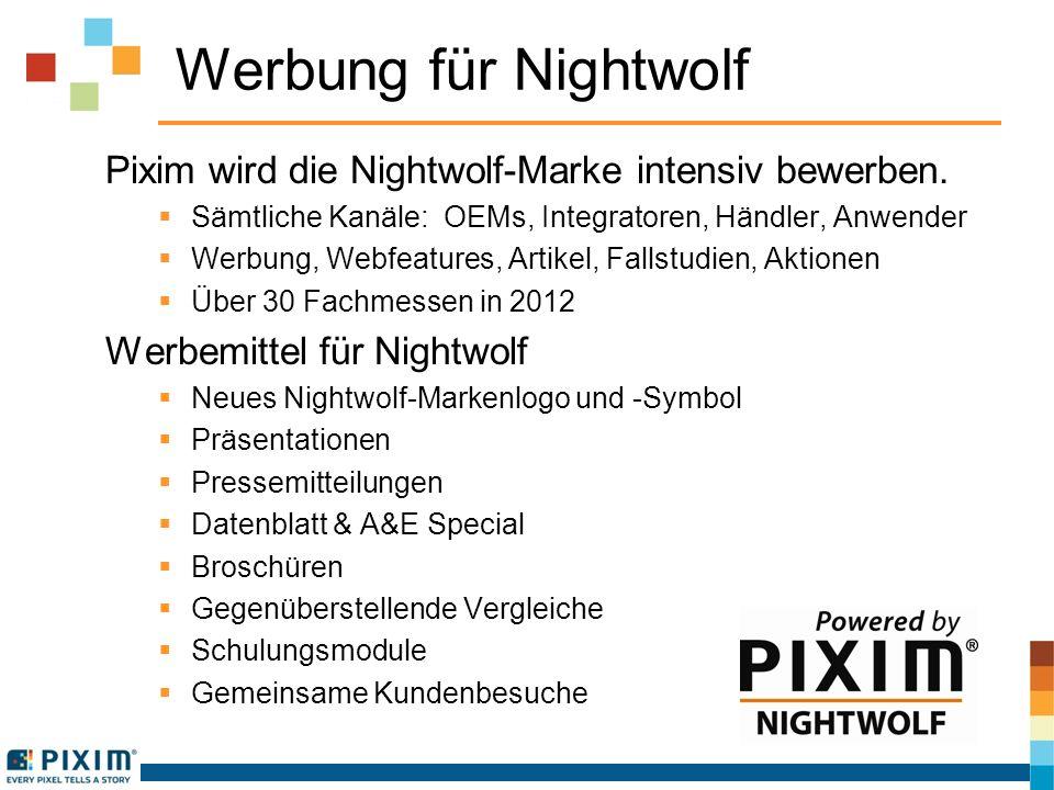 Werbung für Nightwolf Pixim wird die Nightwolf-Marke intensiv bewerben.