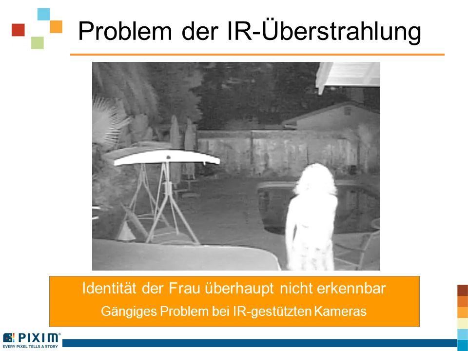 Problem der IR-Überstrahlung Identität der Frau überhaupt nicht erkennbar Gängiges Problem bei IR-gestützten Kameras