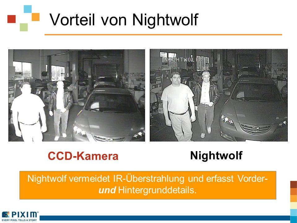 Andere Intelligent-IR-Lösungen versagen Nightwolf CNB Intelligent-IR Bei Nightwolf behält die IR-Leuchte ihre volle Stärke, sodass die Kamera über die gesamte Entfernung gemäß Spezifikation betrieben werden kann, wobei Hintergrund- und Vordergrunddetails erfasst werden.