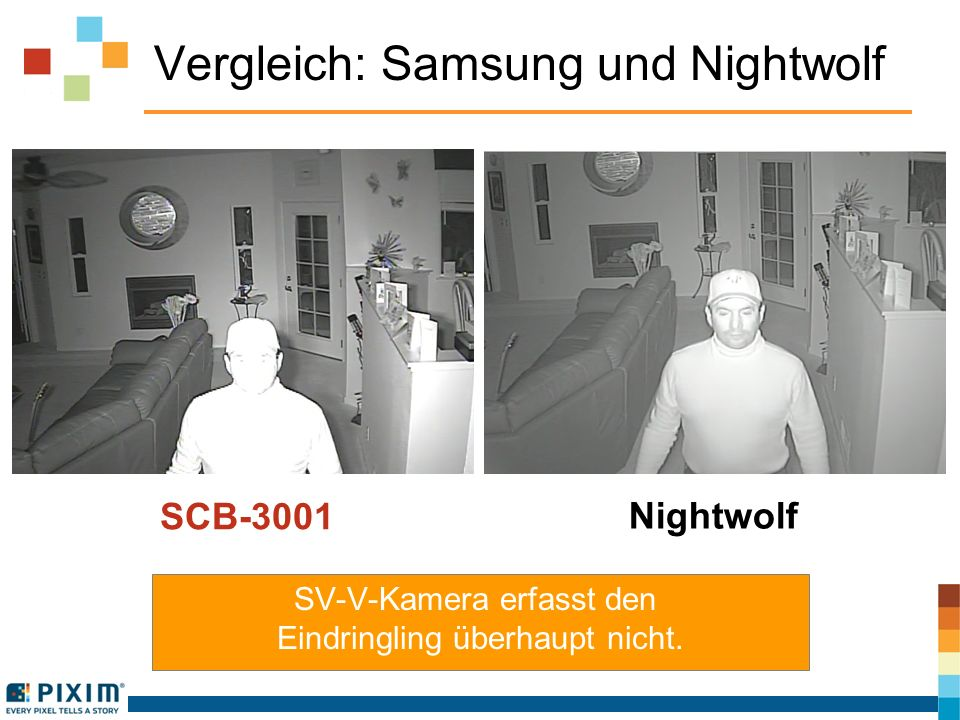 Vergleich: Samsung und Nightwolf SV-V-Kamera erfasst den Eindringling überhaupt nicht.