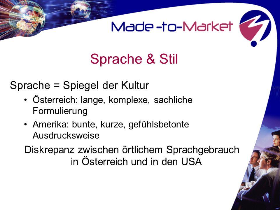 Sprache & Stil Sprache = Spiegel der Kultur Österreich: lange, komplexe, sachliche Formulierung Amerika: bunte, kurze, gefühlsbetonte Ausdrucksweise Diskrepanz zwischen örtlichem Sprachgebrauch in Österreich und in den USA
