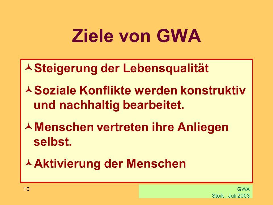 GWA Stoik, Juli 2003 10 Ziele von GWA Steigerung der Lebensqualität Soziale Konflikte werden konstruktiv und nachhaltig bearbeitet. Menschen vertreten