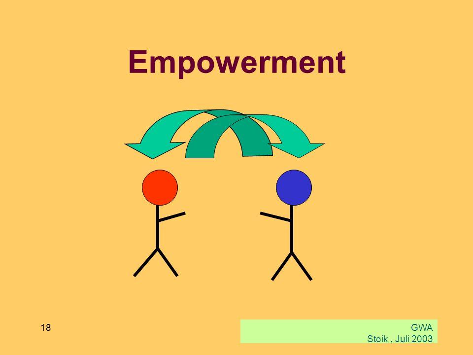GWA Stoik, Juli 2003 18 Empowerment