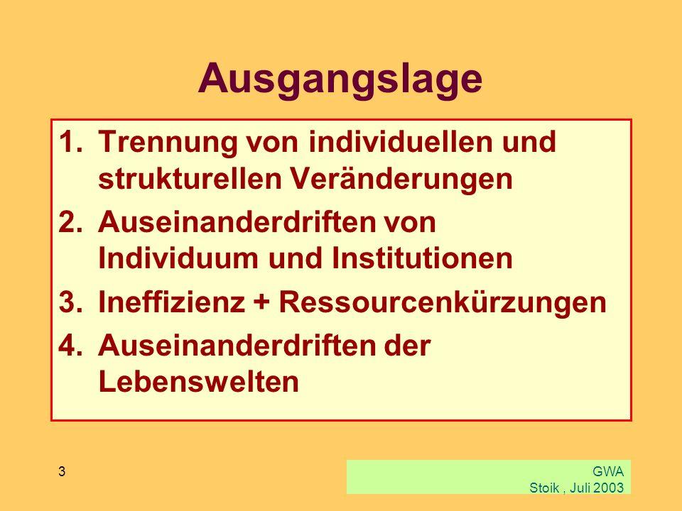 GWA Stoik, Juli 2003 3 Ausgangslage 1.Trennung von individuellen und strukturellen Veränderungen 2.Auseinanderdriften von Individuum und Institutionen