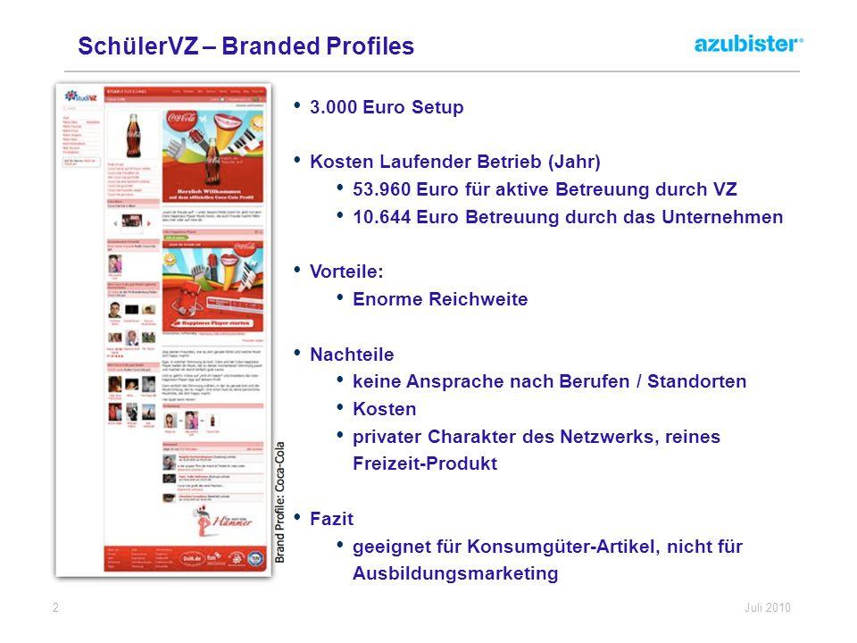 2 Juli 2010 SchülerVZ – Branded Profiles 3.000 Euro Setup Kosten Laufender Betrieb (Jahr) 53.960 Euro für aktive Betreuung durch VZ 10.644 Euro Betreu