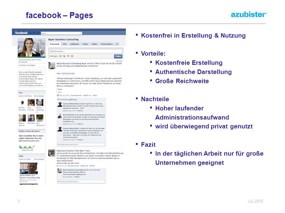 3 Juli 2010 facebook – Pages Kostenfrei in Erstellung & Nutzung Vorteile: Kostenfreie Erstellung Authentische Darstellung Große Reichweite Nachteile H