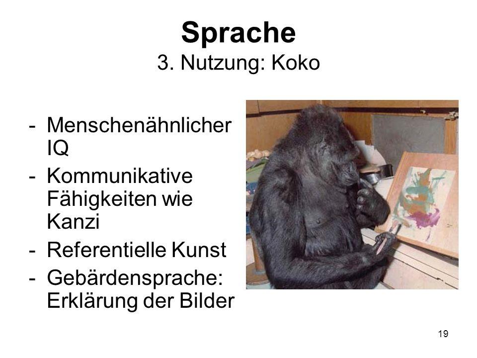 19 Sprache 3. Nutzung: Koko -Menschenähnlicher IQ -Kommunikative Fähigkeiten wie Kanzi -Referentielle Kunst -Gebärdensprache: Erklärung der Bilder