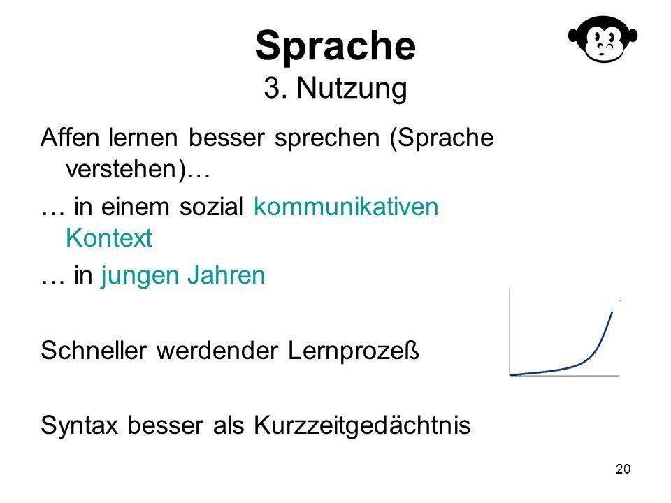 20 Sprache 3. Nutzung Affen lernen besser sprechen (Sprache verstehen)… … in einem sozial kommunikativen Kontext … in jungen Jahren Schneller werdende