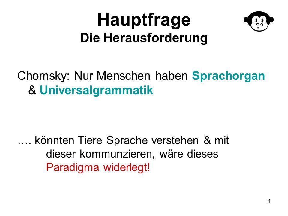 4 Hauptfrage Die Herausforderung Chomsky: Nur Menschen haben Sprachorgan & Universalgrammatik …. könnten Tiere Sprache verstehen & mit dieser kommunzi