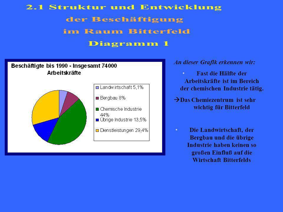 An dieser Grafik erkennen wir: Fast die Hälfte der Arbeitskräfte ist im Bereich der chemischen Industrie tätig.
