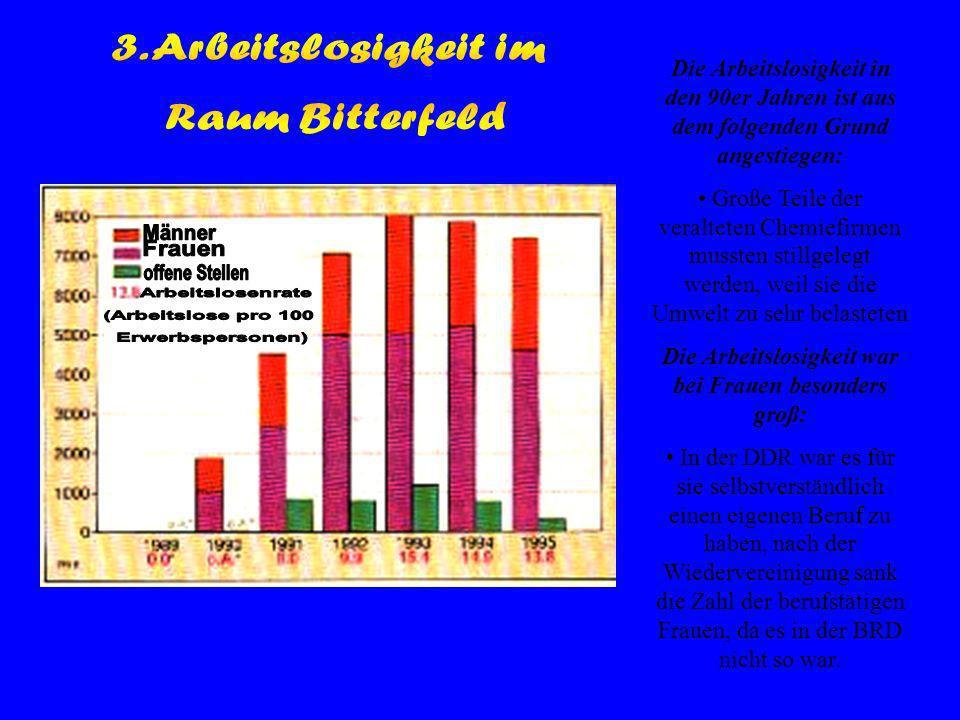Die Arbeitslosigkeit in den 90er Jahren ist aus dem folgenden Grund angestiegen: Große Teile der veralteten Chemiefirmen mussten stillgelegt werden, weil sie die Umwelt zu sehr belasteten Die Arbeitslosigkeit war bei Frauen besonders groß: In der DDR war es für sie selbstverständlich einen eigenen Beruf zu haben, nach der Wiedervereinigung sank die Zahl der berufstätigen Frauen, da es in der BRD nicht so war.