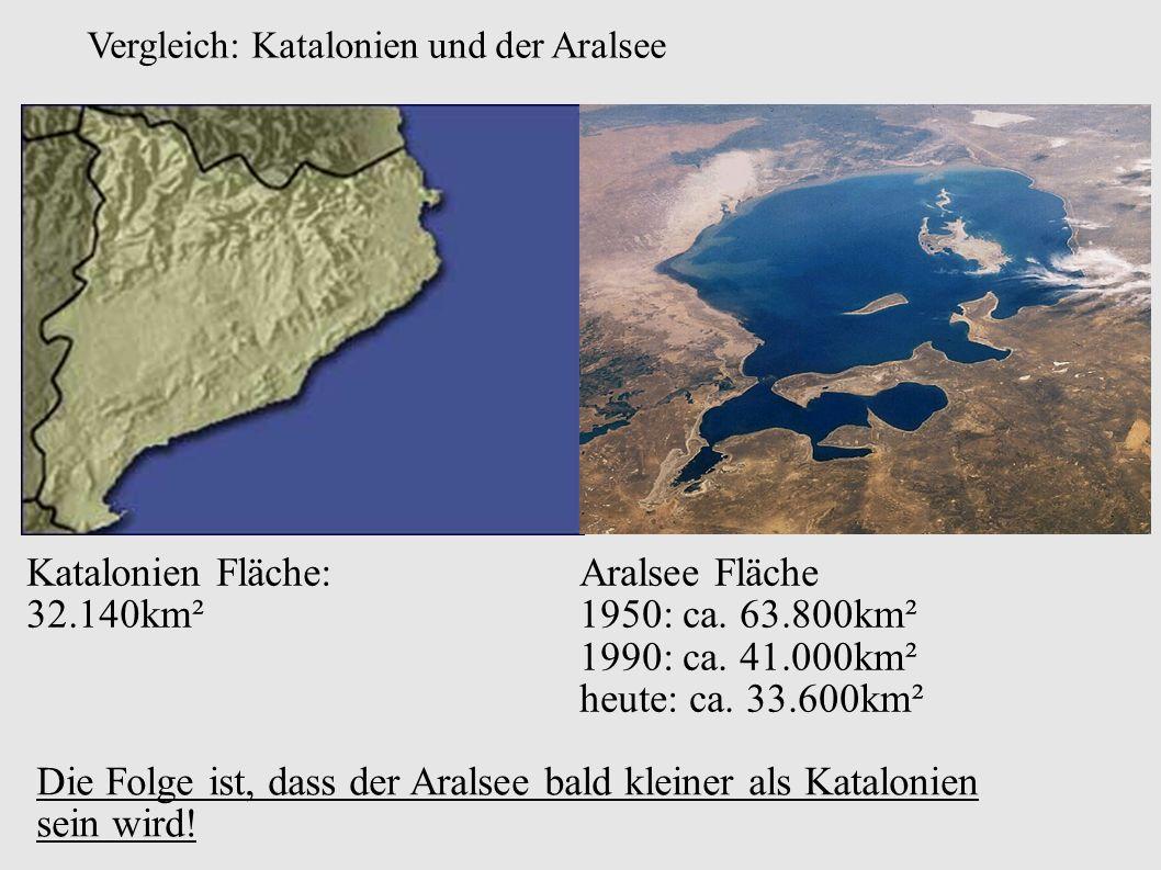 Vergleich: Katalonien und der Aralsee Katalonien Fläche: 32.140km² Aralsee Fläche 1950: ca.
