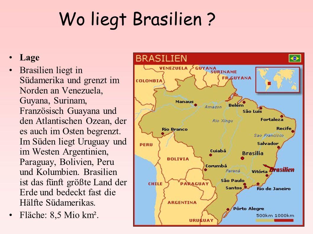 Wo liegt Brasilien ? Lage Brasilien liegt in Südamerika und grenzt im Norden an Venezuela, Guyana, Surinam, Französisch Guayana und den Atlantischen O