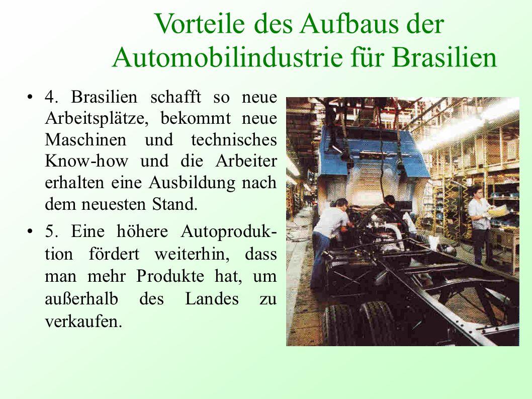 4. Brasilien schafft so neue Arbeitsplätze, bekommt neue Maschinen und technisches Know-how und die Arbeiter erhalten eine Ausbildung nach dem neueste