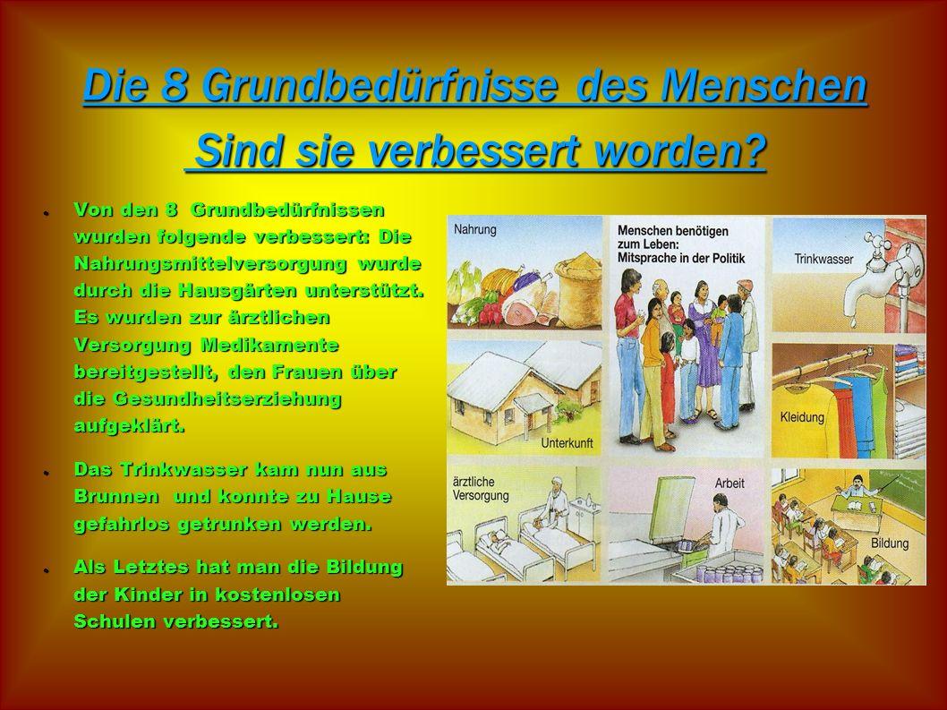 Die 8 Grundbedürfnisse des Menschen Sind sie verbessert worden? Von den 8 Grundbedürfnissen wurden folgende verbessert: Die Nahrungsmittelversorgung w