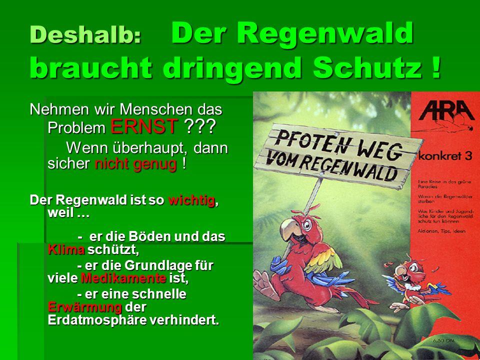 Deshalb : Der Regenwald braucht dringend Schutz .Nehmen wir Menschen das Problem ERNST ??.