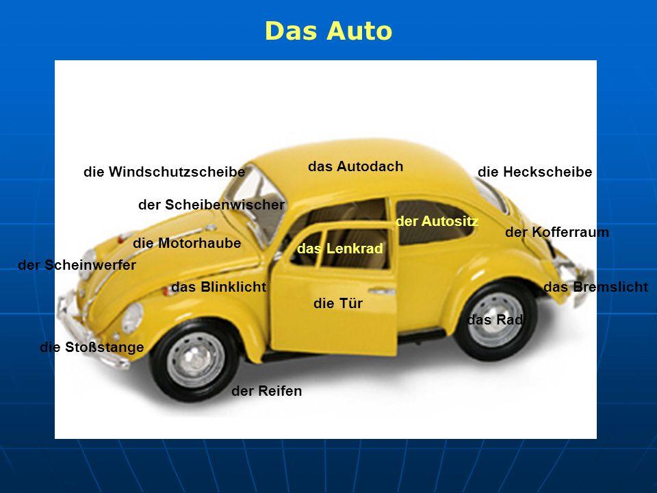 das Autodach die Windschutzscheibe die Motorhaube der Scheinwerfer der Kofferraum die Stoßstange der Reifen der Scheibenwischer das Lenkrad das Blinkl