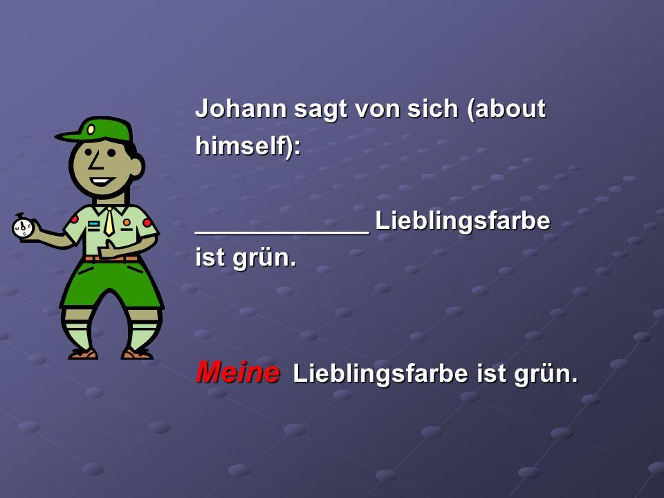 Johann sagt von sich (about himself): ____________ Lieblingsfarbe ist grün. Meine Lieblingsfarbe ist grün.