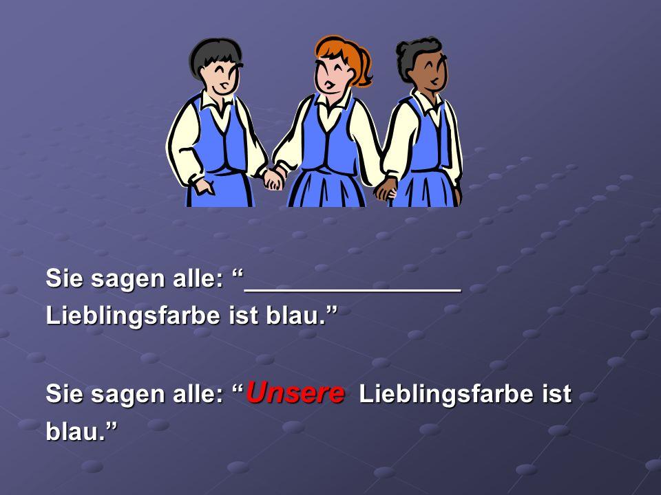 Johann sagt zu Klara: Hanna, Sarah und Zora lieben blau.