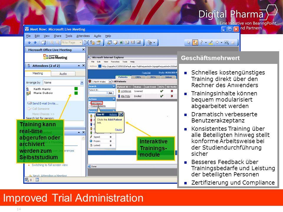 14 Improved Trial Administration Geschäftsmehrwert Schnelles kostengünstiges Training direkt über den Rechner des Anwenders Trainingsinhalte können be