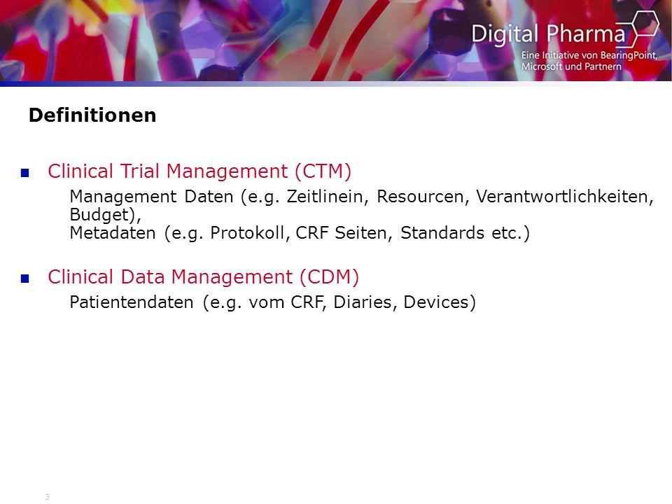 4 Anforderungen Clinical Trial Management (CTM) - Projektmanagement auf Studien und Projektebene - Status-Reports (Verfügbarkeit und Verteilung von Dokumenten, Studienfortschritt) - Key performance indices (benchmarks) - Vorhersagewerte für zukünftige Studien/Projekte - Link zum Dokumentenmanagement (Scanning, Imaging) Clinical Data Management (CDM) - Datenaustausch (mit CROs, Lizenzpartnern, Behörden) - Bereitstellung der sauberen Patientendaten, inkl.