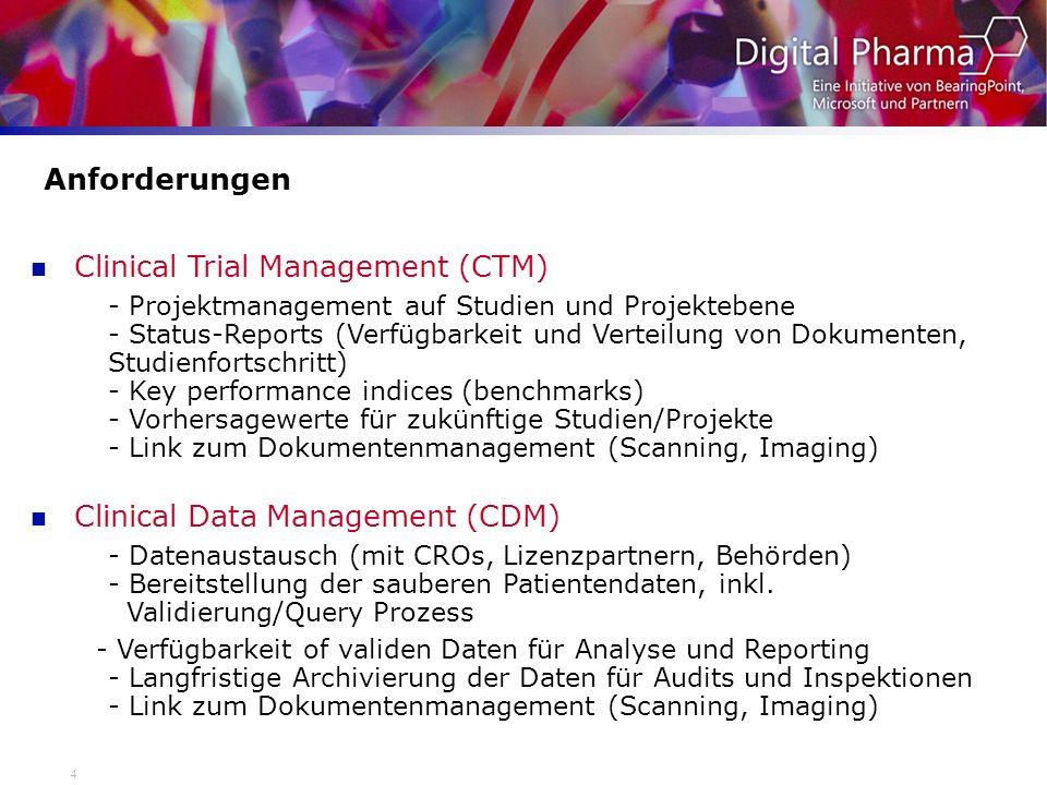 4 Anforderungen Clinical Trial Management (CTM) - Projektmanagement auf Studien und Projektebene - Status-Reports (Verfügbarkeit und Verteilung von Do