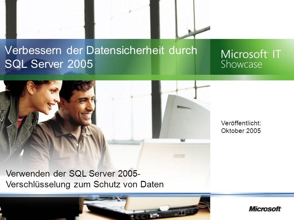 Überblick Situation Microsoft IT hat eine Neubewertung der Datenbanksicherheits- Frameworks vorgenommen Lösung SQL Server 2005 Vorteile Einfache Verwendung, robustes Framework zur Schlüsselverwaltung Verschlüsselung vertraulicher Daten in Anwendungen Entschlüsselung von Daten in einer Sicht Vereinfachte Datenverschlüsselung