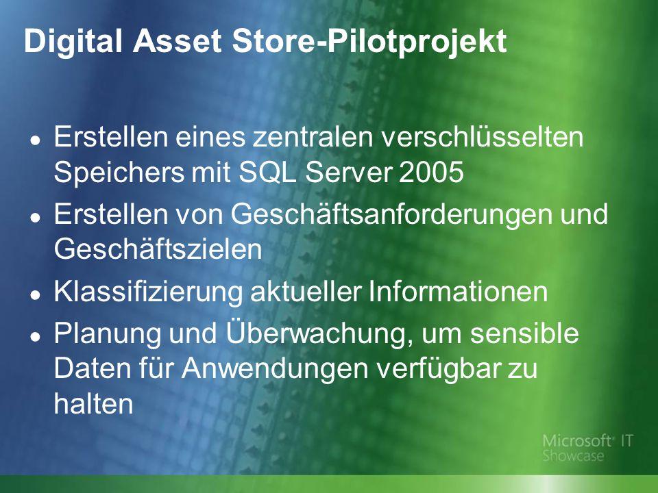 Digital Asset Store-Pilotprojekt Erstellen eines zentralen verschlüsselten Speichers mit SQL Server 2005 Erstellen von Geschäftsanforderungen und Geschäftszielen Klassifizierung aktueller Informationen Planung und Überwachung, um sensible Daten für Anwendungen verfügbar zu halten