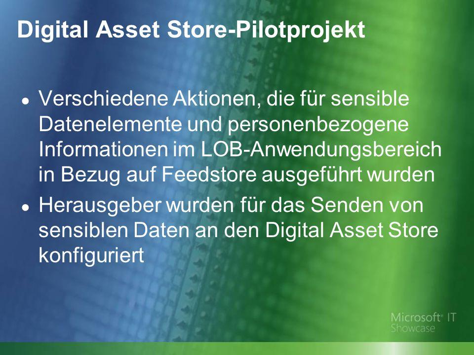 Digital Asset Store-Pilotprojekt Verschiedene Aktionen, die für sensible Datenelemente und personenbezogene Informationen im LOB-Anwendungsbereich in Bezug auf Feedstore ausgeführt wurden Herausgeber wurden für das Senden von sensiblen Daten an den Digital Asset Store konfiguriert