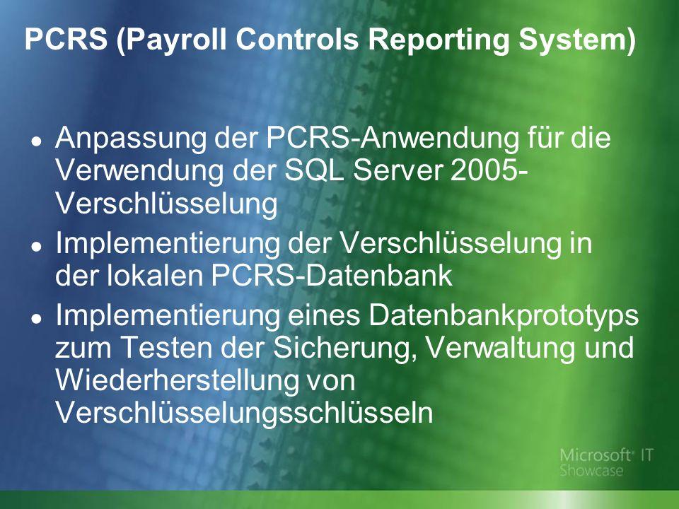 Anpassung der PCRS-Anwendung für die Verwendung der SQL Server 2005- Verschlüsselung Implementierung der Verschlüsselung in der lokalen PCRS-Datenbank Implementierung eines Datenbankprototyps zum Testen der Sicherung, Verwaltung und Wiederherstellung von Verschlüsselungsschlüsseln