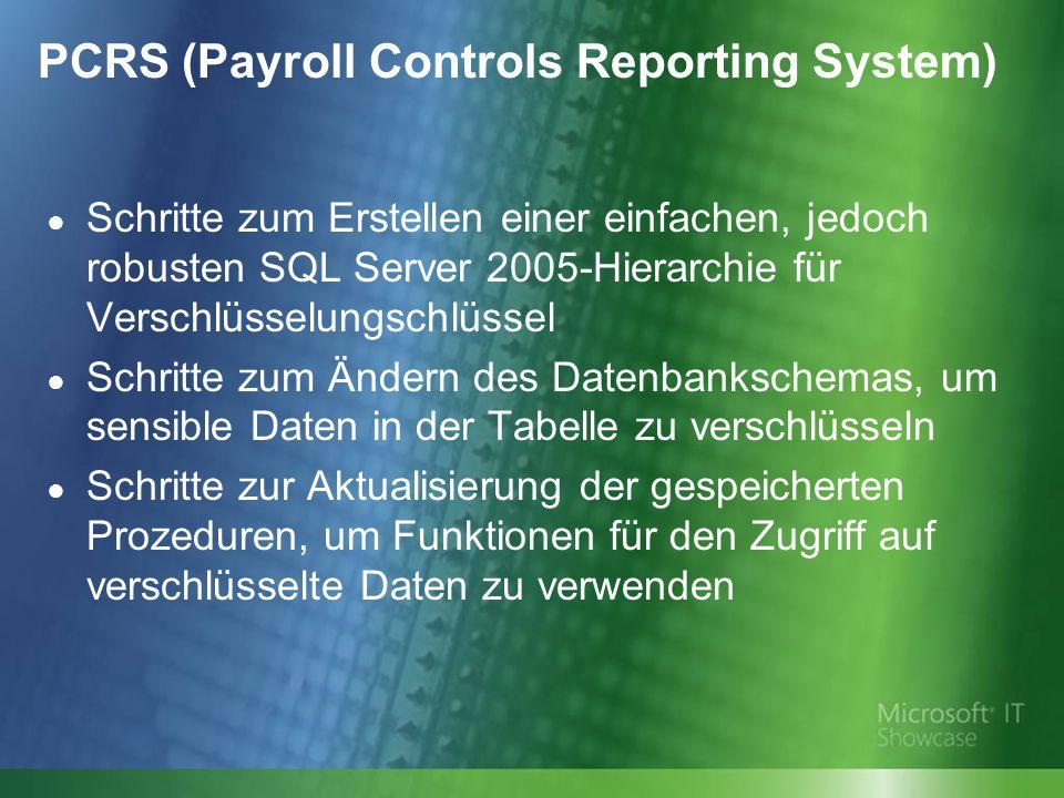 Schritte zum Erstellen einer einfachen, jedoch robusten SQL Server 2005-Hierarchie für Verschlüsselungschlüssel Schritte zum Ändern des Datenbankschemas, um sensible Daten in der Tabelle zu verschlüsseln Schritte zur Aktualisierung der gespeicherten Prozeduren, um Funktionen für den Zugriff auf verschlüsselte Daten zu verwenden