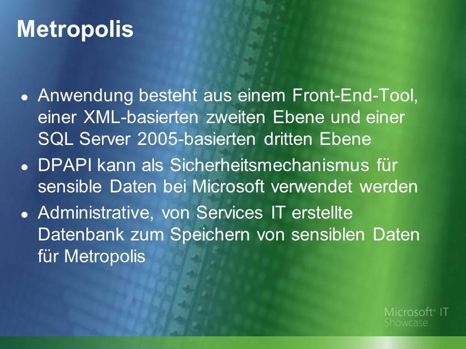Metropolis Anwendung besteht aus einem Front-End-Tool, einer XML-basierten zweiten Ebene und einer SQL Server 2005-basierten dritten Ebene DPAPI kann als Sicherheitsmechanismus für sensible Daten bei Microsoft verwendet werden Administrative, von Services IT erstellte Datenbank zum Speichern von sensiblen Daten für Metropolis