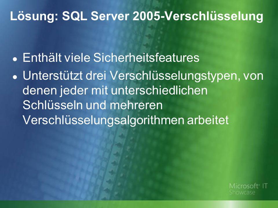 Lösung: SQL Server 2005-Verschlüsselung Enthält viele Sicherheitsfeatures Unterstützt drei Verschlüsselungstypen, von denen jeder mit unterschiedlichen Schlüsseln und mehreren Verschlüsselungsalgorithmen arbeitet